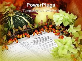 PowerPoint template displaying thanksgiving arrangement with the Bible open at Psalm 100