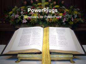PowerPoint template displaying open Bible with golden bookmark on altar with large flower bouquet