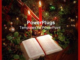 PowerPoint template displaying a beautiful depiction of Bible and candles along with celebration material
