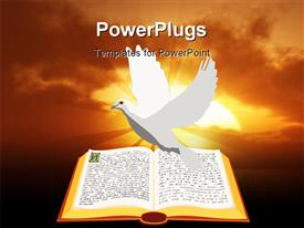 PowerPoint template displaying a painting of a white dove over an open Bible