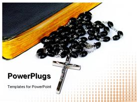 PowerPoint template displaying rosary Beads with Prayer Book