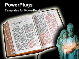 PowerPoint template displaying close-up of full opened bible on black background with spiritual glow around edges in the background.