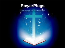 PowerPoint template displaying christian cross and light coming from the bible in the background.