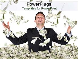 PowerPoint template displaying man celebrating in sea of money with bills falling on him, success, wealth
