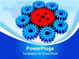PowerPoint template displaying red and blue mechanical gears on world map, industry, manufacturing
