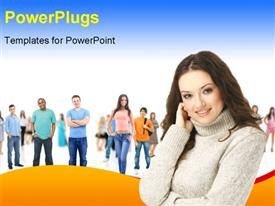 PowerPoint template displaying a pretty lady smiling in front of other students