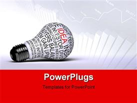 PowerPoint template displaying single light bulb with business expressions on it highlighting the word idea in the background.