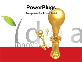 PowerPoint template displaying gold plated man kneels before gold bulb on pillar depicting idea