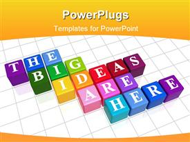 PowerPoint template displaying three dimensional colored boxes with text placed on white tiled floor