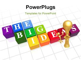 PowerPoint template displaying color boxes with white letters with text - the big ideas