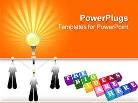 PowerPoint template displaying conceptual design of business team effort and taking three smaller ideas and together turning them in the background.