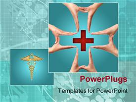 Female hands showing big medical cross symbol concept powerpoint design layout