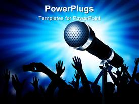 PowerPoint template displaying microphone gleaming with an audience in the background