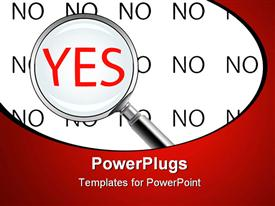 PowerPoint template displaying yes or no, abstract art in the background.