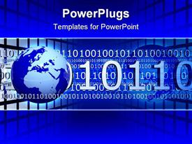 PowerPoint template displaying blue earth globe with lots of binary codes on a blue background