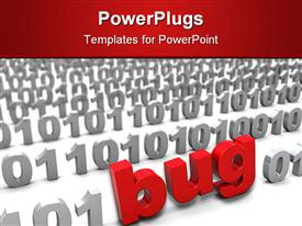 PowerPoint template displaying red text bug in binary code, coding, IT, troubleshooting