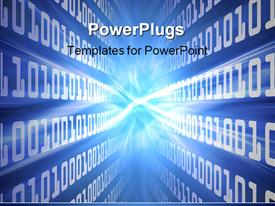 PowerPoint template displaying binary code cast blue energy