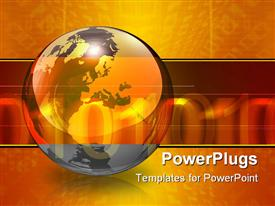 PowerPoint template displaying orange and black globe with a glowing orange banner with soft binary digits