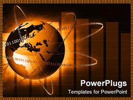 PowerPoint template displaying rendered depiction of binary codes around globe
