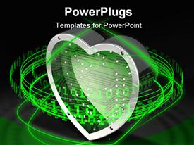 PowerPoint template displaying reflective/metallic/electronic heart surrounded by a ring of glowing green