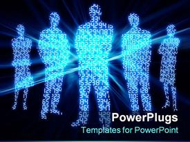 PowerPoint template displaying digital numbers glowing made in shape of people