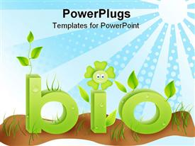 PowerPoint template displaying bio text word with grass flowers and leafs in green colors. ecology concept in the background.