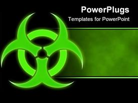 PowerPoint template displaying green glowing bio hazard sign on a black background