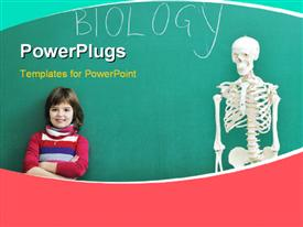 PowerPoint template displaying young kid leaning against chalkboard in biology class with human skeleton