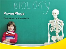 PowerPoint template displaying little kid leaning over chalkboard in biology class with human skeleton