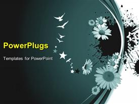 PowerPoint template displaying white birds and stars next to flowers on dark gray background