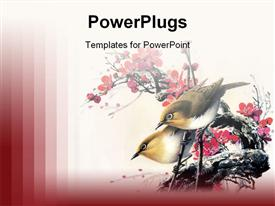 PowerPoint template displaying chinese painting - birds and flower