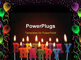 PowerPoint template displaying lit birthday candles in different colors for use on a cake in the background.