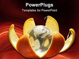 PowerPoint template displaying globe in oranges skin