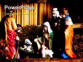 Holiday items like visit of Epiphany to newborn Jesus powerpoint design layout