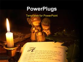 PowerPoint template displaying a lit candle beside an open Bible with books