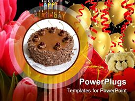PowerPoint template displaying triple layer chocolate cake with cherries in the background.