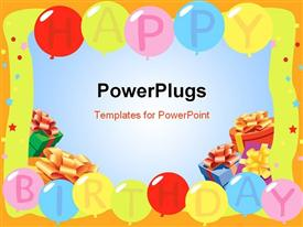 PowerPoint template displaying birthday Balloons - Background