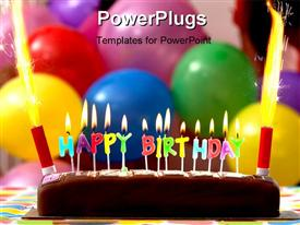 PowerPoint template displaying birthday cake with candles lit up and balloons on the background