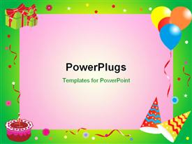 PowerPoint template displaying abstract birthday frame in the background.
