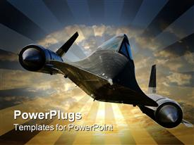 PowerPoint template displaying a depiction of a-12 trainer with clouds in the background