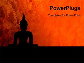 PowerPoint template displaying a statue of Buddha with reddish background