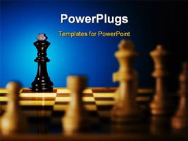 Close up view of the chess on blue background powerpoint template
