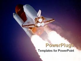 PowerPoint template displaying a beautiful depiction  of a space shuttle launch , credits to NASA