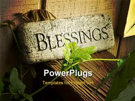 PowerPoint template displaying blessings plaque sitting on porch railing with vine in front in the background.