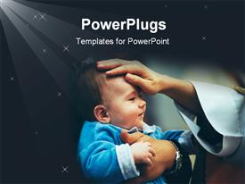 PowerPoint template displaying a smiling baby with a hand blessing him/her