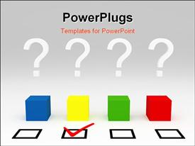 PowerPoint template displaying four colored cubes and check boxes with one ticked