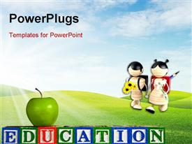 PowerPoint template displaying green apple on EDUCATION with two little kids going to school