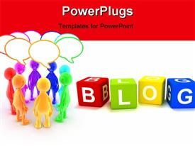 PowerPoint template displaying a number of dices with the word blog