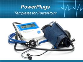 PowerPoint template displaying blue modern stethoscope and pressure monitor in the background.