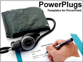 Hands of doctor taking blood pressure powerpoint design layout